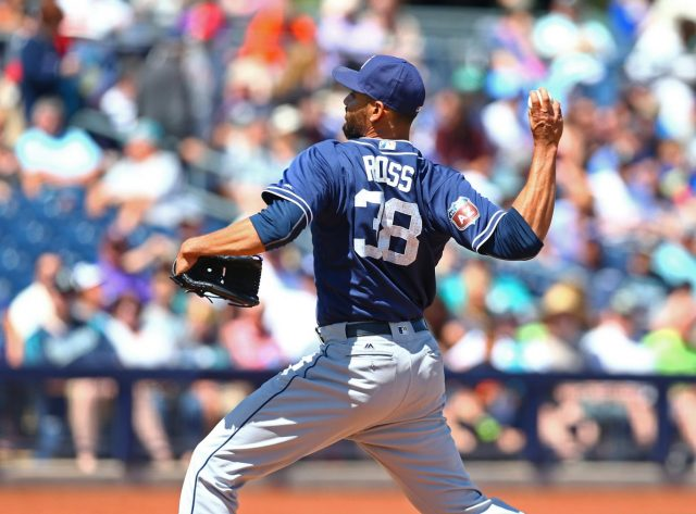 Mar 30, 2016; Peoria, AZ, USA; San Diego Padres pitcher Tyson Ross against the Seattle Mariners during a spring training game at Peoria Sports Complex. Mandatory Credit: Mark J. Rebilas-USA TODAY Sports