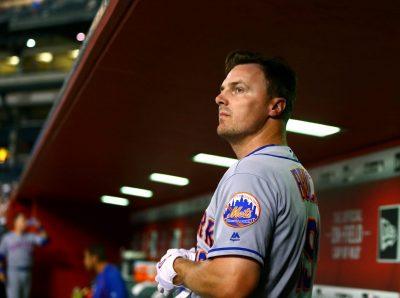 Aug 16, 2016; Phoenix, AZ, USA; New York Mets outfielder Jay Bruce against the Arizona Diamondbacks at Chase Field. Mandatory Credit: Mark J. Rebilas-USA TODAY Sports