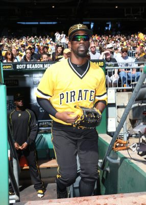 Sep 25, 2016; Pittsburgh, PA, USA; Pittsburgh Pirates center fielder Andrew McCutchen (22) takes the field against the Washington Nationals during the first inning PNC Park. Mandatory Credit: Charles LeClaire-USA TODAY Sports