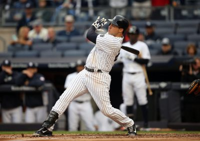 Oct 2, 2016; Bronx, NY, USA; New York Yankees first baseman Mark Teixeira (25) bats in his first plate appearance of the final game of his Major League career against the Baltimore Orioles at Yankee Stadium. Mandatory Credit: Danny Wild-USA TODAY Sports