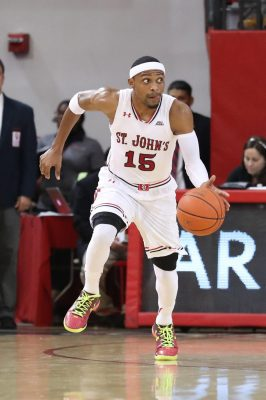 Nov 29, 2016; Queens, NY, USA;  St. John's Red Storm guard Marcus LoVett (15) drives the ball during the second half against the Delaware State Hornets at Carnesecca Arena. Delaware State Hornets won 79-72. Mandatory Credit: Anthony Gruppuso-USA TODAY Sports