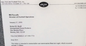 The actual document that allowed Bill Belichick to leave the New York Jets (Photo)
