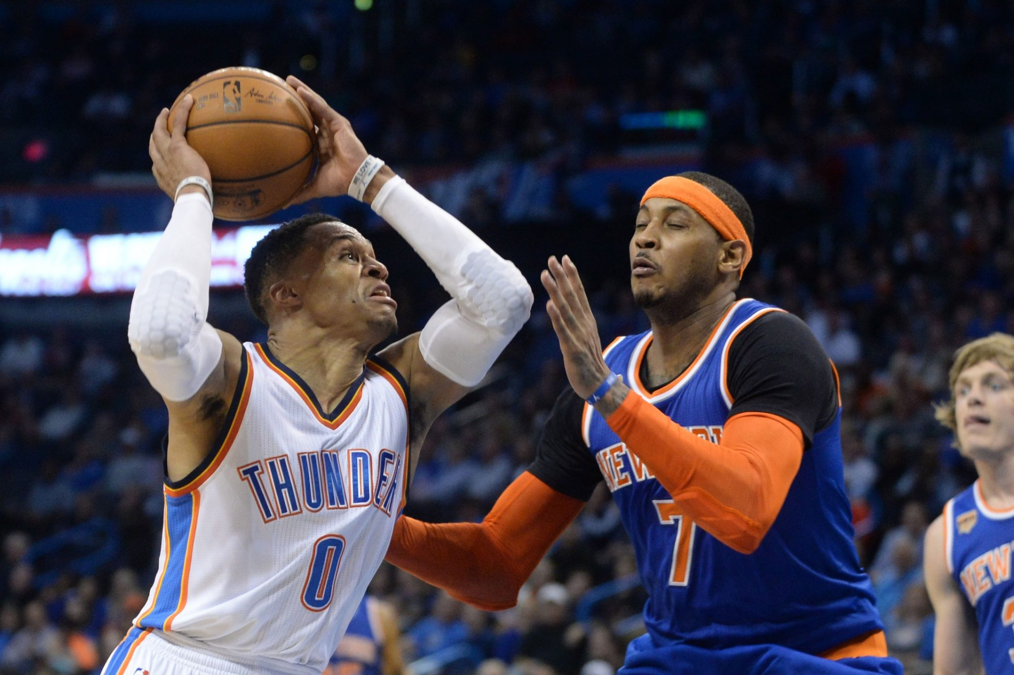 Knicks waste Carmelo Anthony's big night, get run over by Russell Westbrook