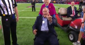 Former President George H.W. Bush tosses coin at Super Bowl 51 (Video)