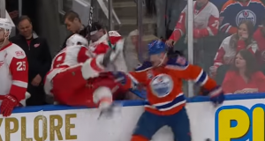 Oilers' Matt Hendricks Pulls Off the Ultimate Bench Check on Ryan Sproul (Video)