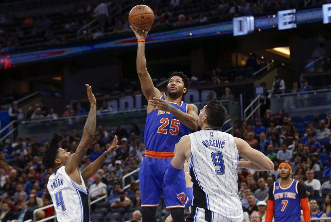 New York Knicks' Derrick Rose is preparing his three-point shot for the playoffs