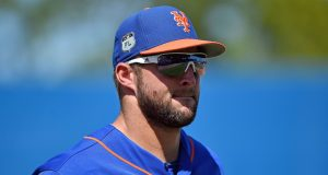 New York Mets' Tim Tebow Goes Down Without a Fight Against Max Scherzer (Video)