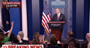 New England Patriots TE Rob Gronkowski Crashes White House Press Briefing 2