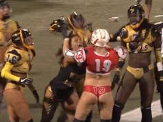Legends Football League Girl Knocks Out Opponent With One Punch (Video)