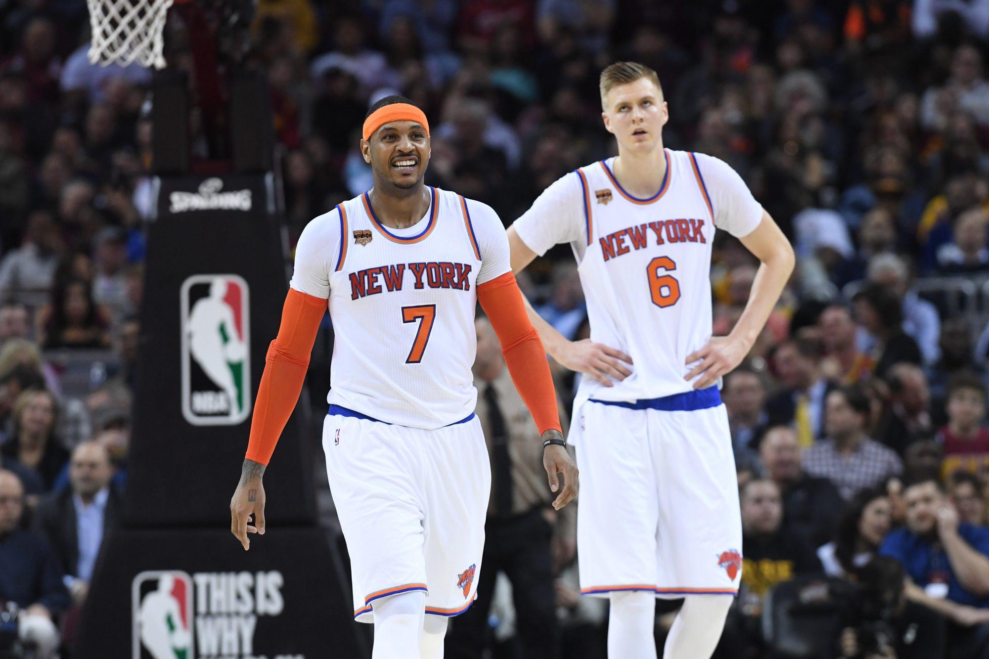 New York Knicks Kristaps Porzingis Carmelo Anthony