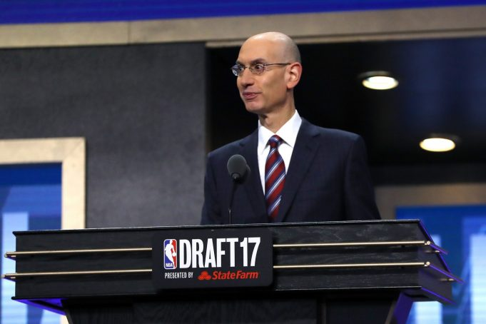 NEW YORK, NY - JUNE 22: NBA Commissioner Adam Silver speaks during the first round of the 2017 NBA Draft at Barclays Center on June 22, 2017 in New York City. NOTE TO USER: User expressly acknowledges and agrees that, by downloading and or using this photograph, User is consenting to the terms and conditions of the Getty Images License Agreement.