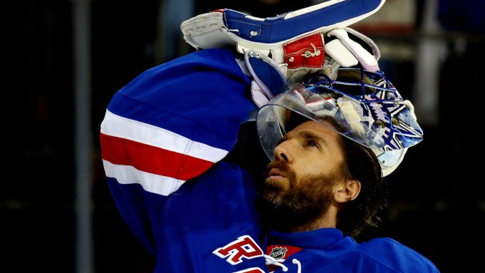NEW YORK, NY - MAY 29: Henrik Lundqvist #30 of the New York Rangers warms up prior to playing against the Tampa Bay Lightning in Game Seven of the Eastern Conference Finals during the 2015 NHL Stanley Cup Playoffs at Madison Square Garden on May 29, 2015 in New York City.