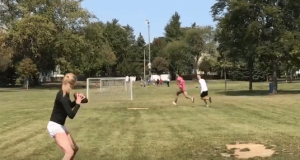 Abby Hornacek Shows Cam Newton A Post Route (Video)