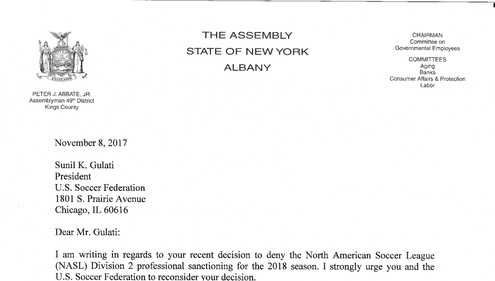New York Cosmos: Open letters to the United States Soccer Federation 2