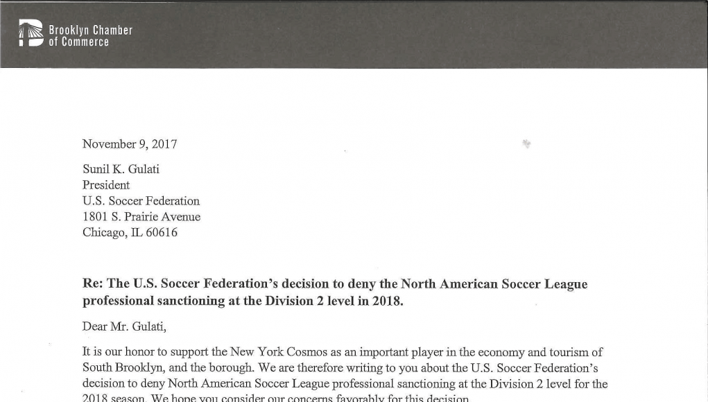 New York Cosmos: Open letters to the United States Soccer Federation 5