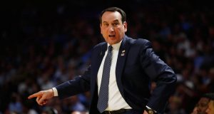 GREENVILLE, SC - MARCH 19: Head coach Mike Krzyzewski of the Duke Blue Devils reacts in the first half against the South Carolina Gamecocks during the second round of the 2017 NCAA Men's Basketball Tournament at Bon Secours Wellness Arena on March 19, 2017 in Greenville, South Carolina.