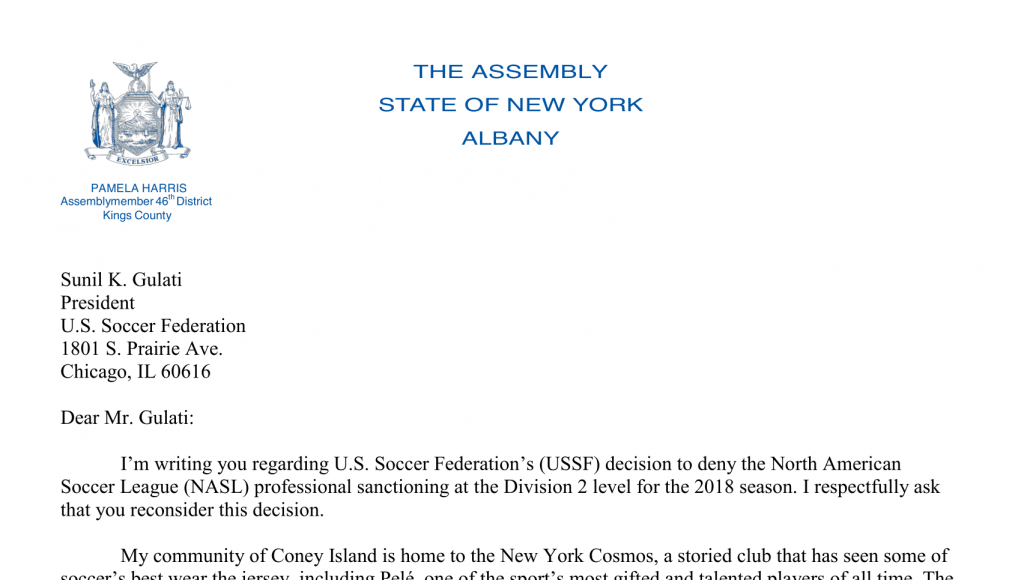 New York Cosmos: Open letters to the United States Soccer Federation 9