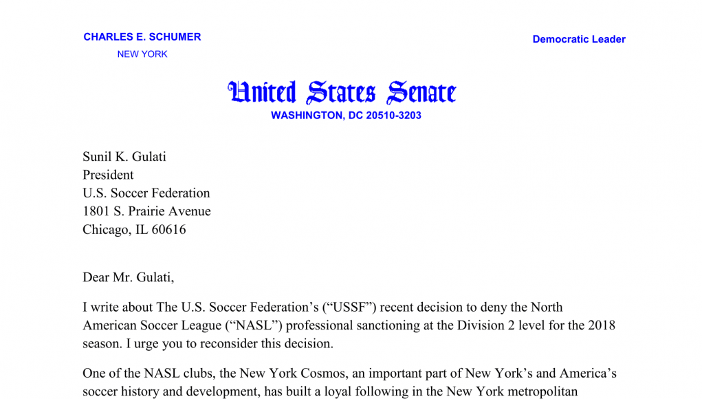New York Cosmos: Open letters to the United States Soccer Federation 11