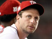 WASHINGTON, DC - OCTOBER 06: Max Scherzer #31 of the Washington Nationals looks on from the dugout in the 4th inning during game one of the National League Division Series against the Chicago Cubs at Nationals Park on October 6, 2017 in Washington, DC.