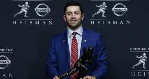 Oklahoma's Baker Mayfield defiantly captures the 2017 Heisman Trophy
