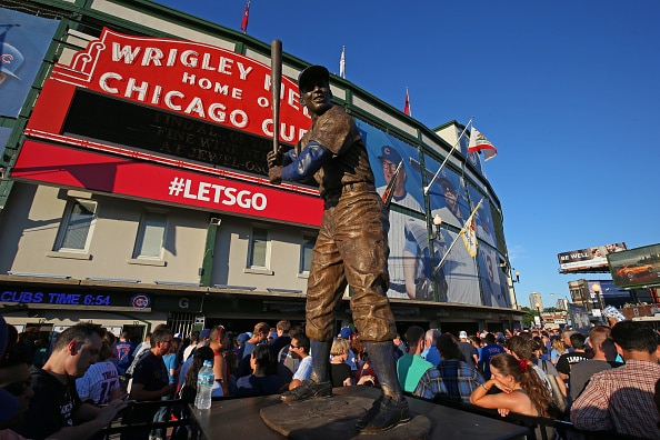 Ernie Banks statue at Wrigley Field