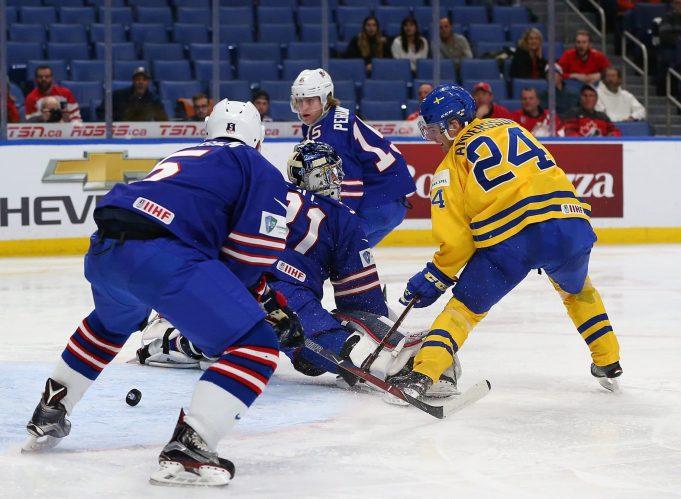 Lias Andersson scoring chance vs USA