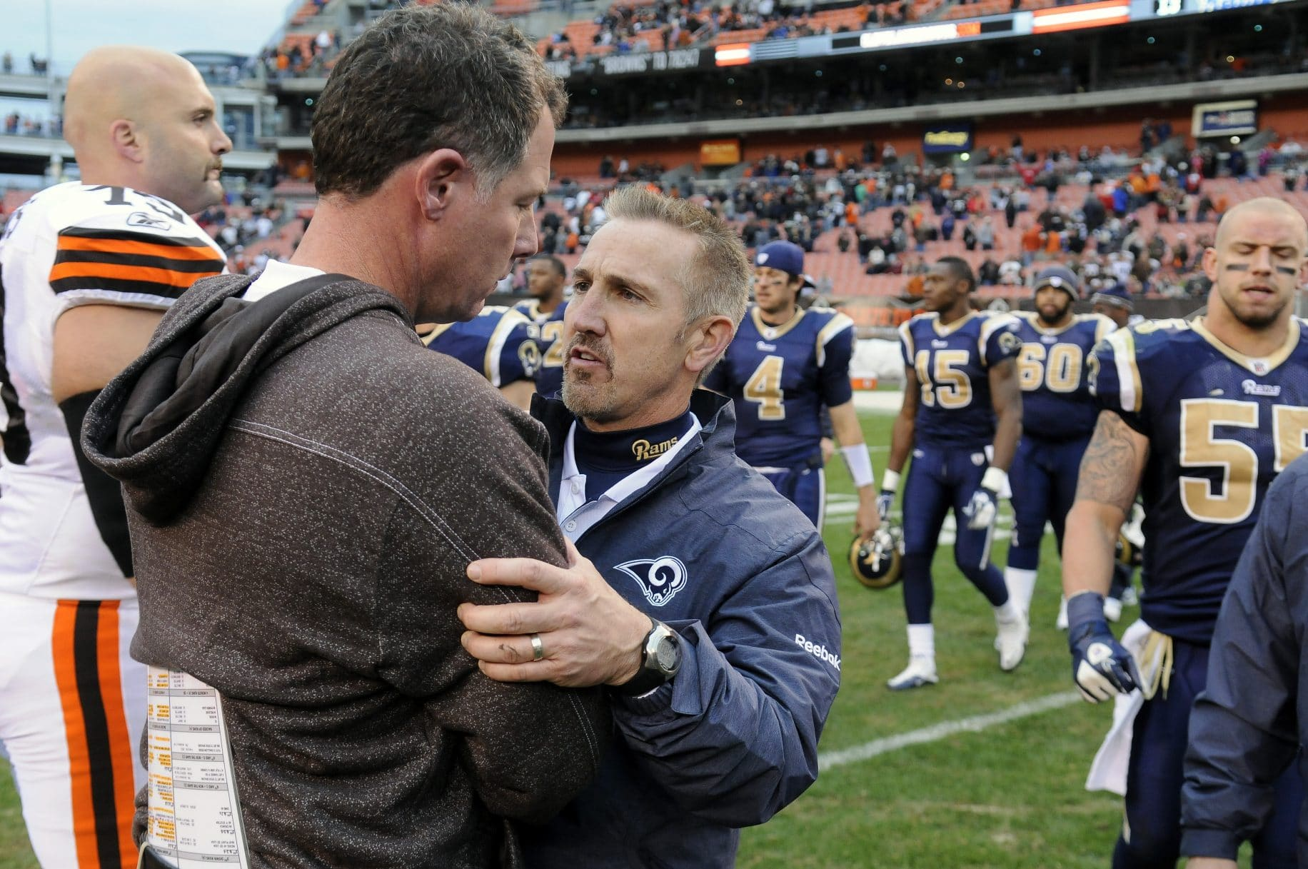 CLEVELAND, OH - NOVEMBER 13: Head coach Pat Shurmur of the Cleveland Browns congratulates head coach Steve Spagnuolo of the St. Louis Rams after the Rams defeated the Browns 13-12 at Cleveland Browns Stadium on November 13, 2011 in Cleveland, Ohio. The Rams defeated the Browns 13-12.