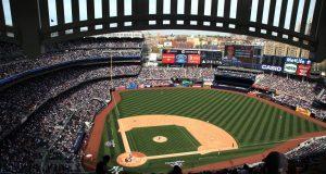A panoramic view of Yankee Stadium during the New York Yankees V Los Angeles Angels Baseball game at Yankee Stadium, The Bronx, New York. 15th March 2012. Photo Tim Clayton
