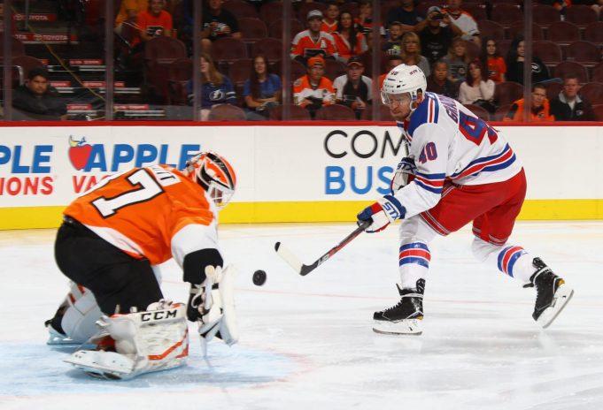 Michael Grabner shot attempt vs Flyers