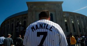Mickey Mantle and Yankees fan