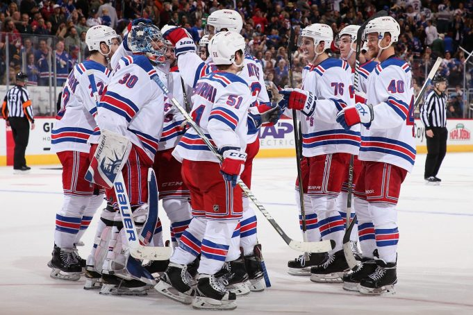 New York Rangers celebrate win over Arizona