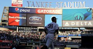 Aaron Judge takes the field at Yankee Stadium