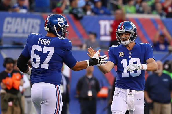 Justin Pugh Eli Manning New York Giants