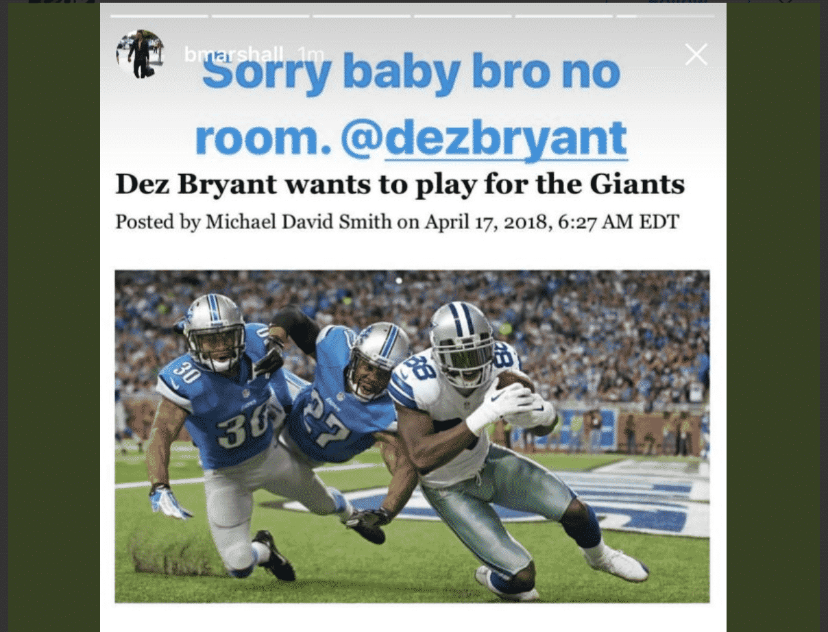 best website 9bf3c 4cf8e New York Giants: Brandon Marshall responds to Dez Bryant