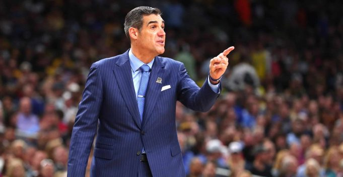 SAN ANTONIO, TX - APRIL 02: Head coach Jay Wright of the Villanova Wildcats reacts against the Michigan Wolverines in the second half during the 2018 NCAA Men's Final Four National Championship game at the Alamodome on April 2, 2018 in San Antonio, Texas. The Villanova Wildcats defeated the Michigan Wolverines 79-62.