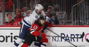 New Jersey Devils Hirschier speared