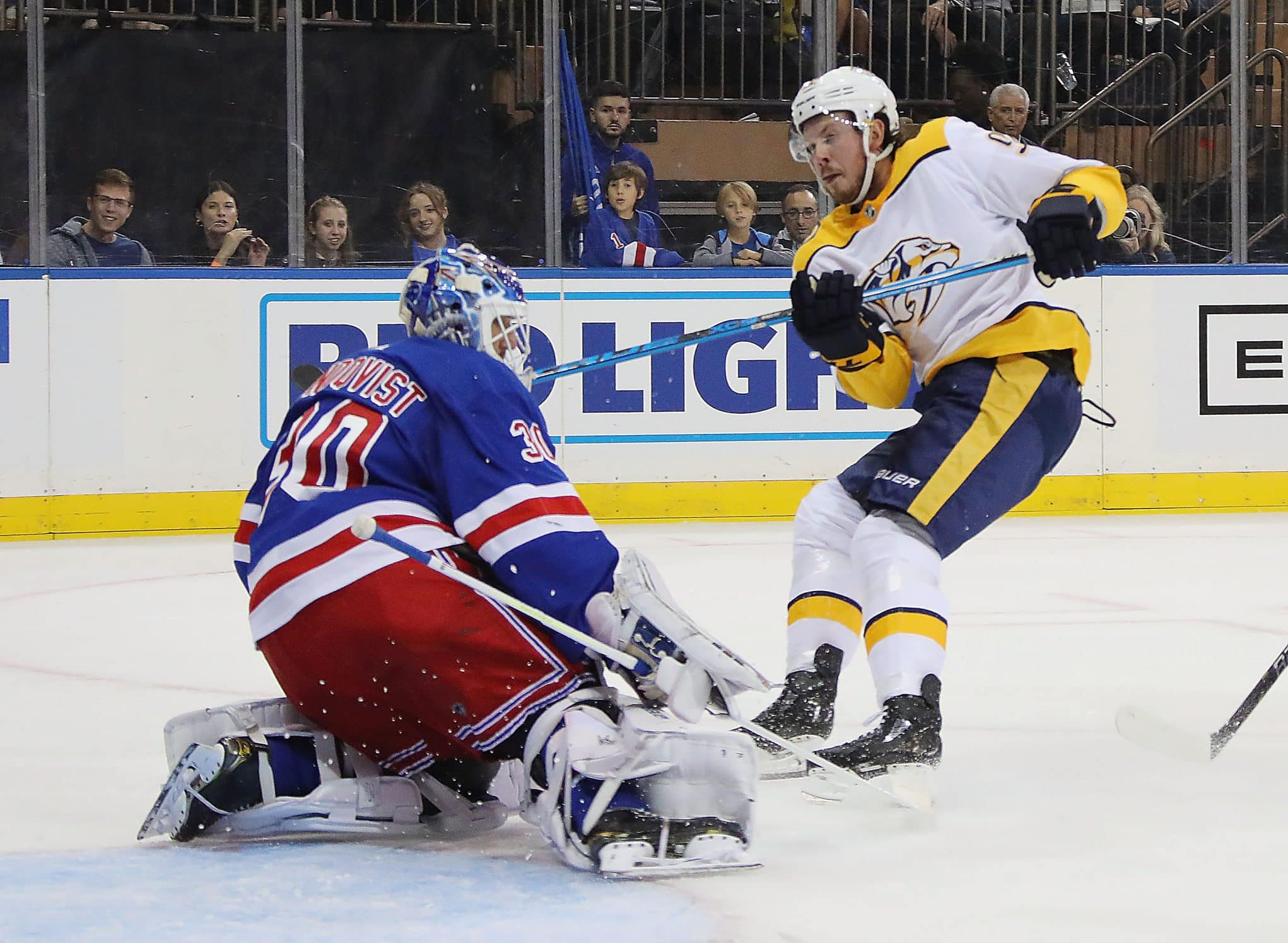 f4ee0e5a577 New York Rangers show signs of life but, drop season opener 3-2 at the  Garden (Highlights)