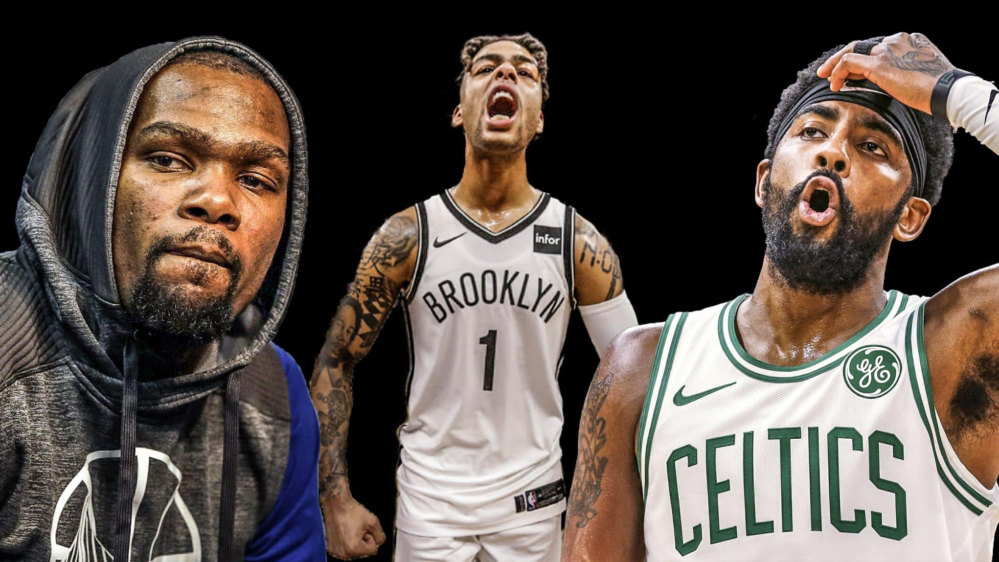 Kevin Durant, D'Angelo Russell, Kyrie Irving