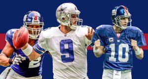 Osi Umenyiora, Tony Romo, Eli Manning