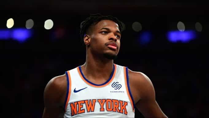 NEW YORK, NEW YORK - OCTOBER 26: Dennis Smith Jr. #5 of the New York Knicks looks on during their game against the Boston Celtics at Madison Square Garden on October 26, 2019 in New York City.