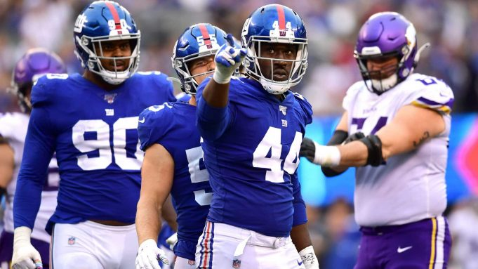 EAST RUTHERFORD, NEW JERSEY - OCTOBER 06: Markus Golden #44 of the New York Giants reacts in the third quarter during their game against the Minnesota Vikings at MetLife Stadium on October 06, 2019 in East Rutherford, New Jersey.