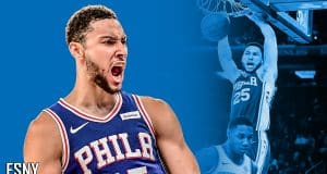 Ben Simmons dunks on RJ Barrett in the Philadelphia 76ers win over the New York Knicks.