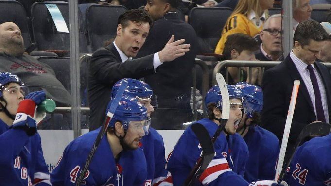 NEW YORK, NEW YORK - MARCH 25: Head coach David Quinn of the New York Rangers speaks to his players during the second period against the Pittsburgh Penguins at Madison Square Garden on March 25, 2019 in New York City.