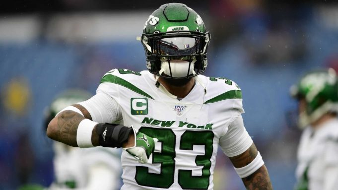 New York Jets strong safety Jamal Adams (33) warms up before an NFL football game against the Buffalo Bills Sunday, Aug. 26, 2018, in Orchard Park, N.Y.