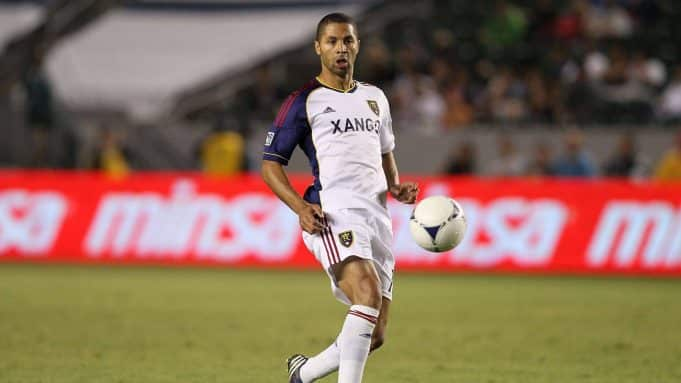 CARSON, CA - SEPTEMBER 29: Alvaro Saborio #15 of Real Salt Lake volleys a pass during the MLS match against Chivas USA at The Home Depot Center on September 29, 2012 in Carson, California. Real Salt Lake defeated Chivas USA 4-0.