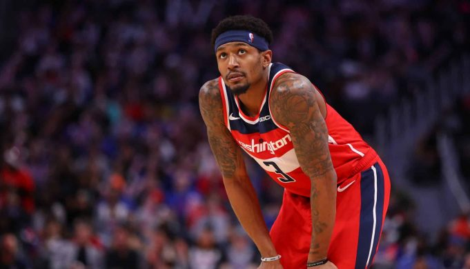 DETROIT, MICHIGAN - DECEMBER 16: Bradley Beal #3 of the Washington Wizards plays against the Detroit Pistons at Little Caesars Arena on December 16, 2019 in Detroit, Michigan. NOTE TO USER: User expressly acknowledges and agrees that, by downloading and or using this photograph, User is consenting to the terms and conditions of the Getty Images License Agreement.
