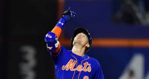 NEW YORK, NEW YORK - SEPTEMBER 27: Brandon Nimmo #9 of the New York Mets celebrates a double in the sixth inning of their game against the Atlanta Braves at Citi Field on September 27, 2019 in the Flushing neighborhood of the Queens borough of New York City.