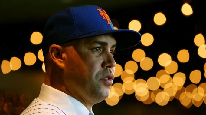 NEW YORK, NY - NOVEMBER 04: Carlos Beltran talks to the media after being introduced by as the manager of the New York Mets during a press conference at Citi Field on November 4, 2019 in New York City.