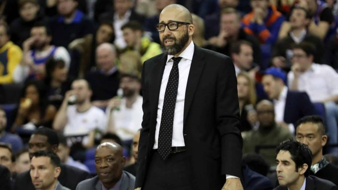 LONDON, ENGLAND - JANUARY 17: David Fizdale, Head Coach of the New York Knicks reacts during the NBA London game 2019 between Washington Wizards and New York Knicks at The O2 Arena on January 17, 2019 in London, England.