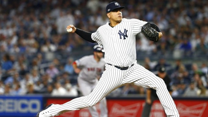 NEW YORK, NEW YORK - OCTOBER 09: Dellin Betances #68 of the New York Yankees throws a pitch against the Boston Red Sox during the seventh inning in Game Four of the American League Division Series at Yankee Stadium on October 09, 2018 in the Bronx borough of New York City.